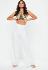 Missguided premium textured crepe wide leg trousers in white