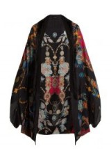 ETRO Printed cashmere-blend poncho / floral fringed throw-on