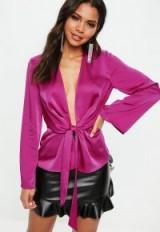 MISSGUIDED purple satin drape plunge blouse – deep v neckline top