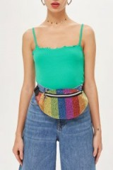 Topshop Rainbow Beaded Bumbag | multicoloured fanny pack
