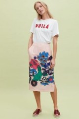 Essentiel Reglisse Embroidered Pencil Skirt in Pink | bold prints