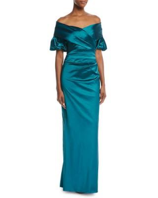 Rickie Freeman for Teri Jon Off-the-Shoulder Portrait Puff-Sleeve Taffeta Evening Gown Green/Blue – long ruched bardot dresses