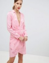 River Island dress with plunge neck line in floral jacquard print in pink / wrap style