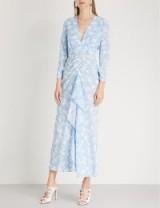 RIXO Rose floral-print silk maxi dress in blue cream ~ chic summer event ~ open back feature