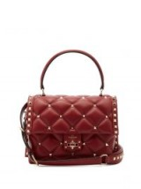 VALENTINO Rockstud quilted burgundy leather shoulder bag