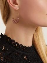 ISABEL MARANT Rosewood pink bead-embellished hoop earrings ~ large crystal hoops