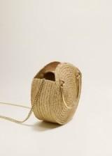 MANGO Round small raffia bag in Beige | summer handbags