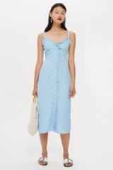 Topshop Ruffle Midi Slip Dress | pale blue summer cami frock