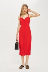 Topshop Ruffle Midi Slip Dress | red summer frocks