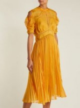 SELF-PORTRAIT Yellow Ruffle-trimmed pleated dress ~ summer event clothing ~ feminine style