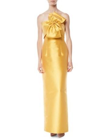 Sachin & Babi Noir Joanna Strapless Gown w/ Bow Detail – gold statement column dress - flipped