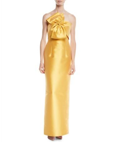 Sachin & Babi Noir Joanna Strapless Gown w/ Bow Detail – gold statement column dress