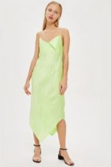 Topshop Boutique Sandwash Slip Dress by Boutique in Lime | green pointed hem cami frock