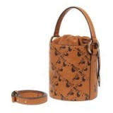 meli melo Santina Mini Bucket Bag in Tan DNA – brown logo print bags