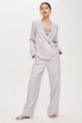 TOPSHOP Satin Jacket and Wide Leg Trousers in lilac – silky pant suit