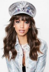MISSGUIDED savage rainbow pink military hat – glitter covered accessories