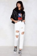 Nasty Gal Seeing Shred Distressed Jeans in White | high waist | destroyed