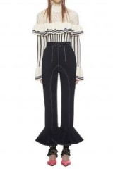 Self Portrait Frilled Canvas Trousers
