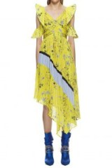 Self Portrait Pleated Asymmetric Floral Printed Dress