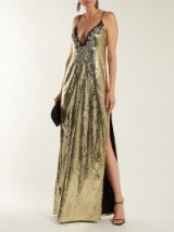 DUNDAS Sequin and crystal-embellished gown ~ gold plunge front strappy dress ~ evening glamour