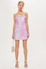 TOPSHOP Sequin Mini Slip Dress in Pink / shimmering cami dresses