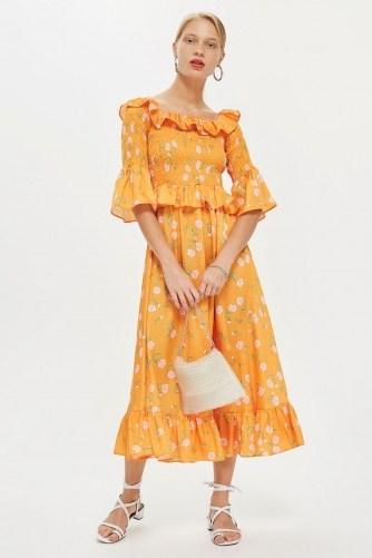 TOPSHOP Shirred Floral Bardot Dress / orange vintage style summer frock - flipped