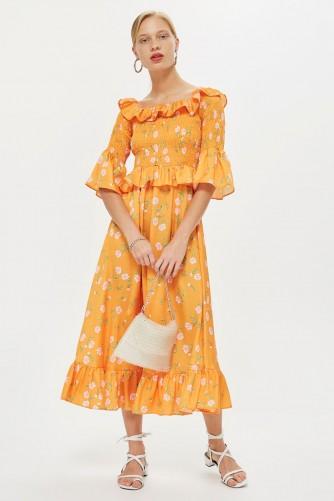 TOPSHOP Shirred Floral Bardot Dress / orange vintage style summer frock