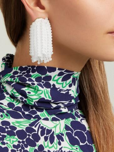 VANDA JACINTHO White Shower crystal earrings ~ chic jewellery