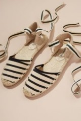 Soludos Classic Striped-Espadrille Sandals in Black and white | mono ankle wrap flats