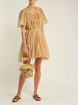 THIERRY COLSON Sparta pleated cotton and silk-blend dress ~ vacation luxe