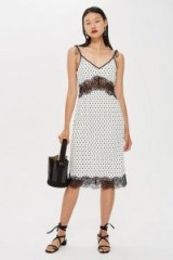 Topshop Spot Plisse Slip Dress | lace trim cami frock