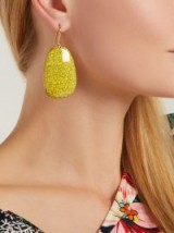 ISABEL MARANT Square yellow marbled-stone drop earrings ~ chic statement accessory