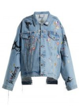 VETEMENTS Sticker oversized denim jacket
