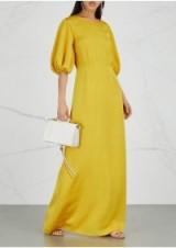 STINE GOYA Delia yellow ribbed maxi dress ~ effortless event style