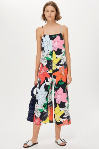 TOPSHOP Strappy Floral Jumpsuit / bold flower prints
