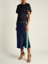 PETER PILOTTO Stripe-trimmed crepe pencil skirt ~ slinky ruched design