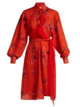 PREEN BY THORNTON BREGAZZI Susanna red floral-print silk shirtdress ~ luxe waist tie shirt dresses