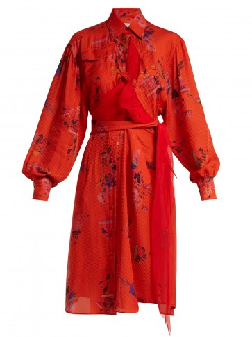 PREEN BY THORNTON BREGAZZI Susanna red floral-print silk shirtdress ~ luxe waist tie shirt dresses