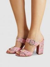 TABITHA SIMMONS Reyner Pink Embellished Floral-Print Satin Sandals ~ pretty summer block heels