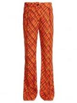 MARNI Tartan-print flared trousers / orange checked retro pants