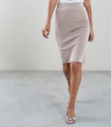 REISS TATE KNITTED PENCIL SKIRT NEUTRAL ~ chic bodycon style