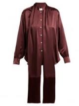 HILLIER BARTLEY Tie-neck burgundy silk-satin blouse ~ deep rich colours