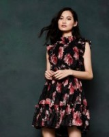 TED BAKER FALLONN Tranquility ruffle dress in Black ~ summer party dresses