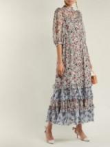 ERDEM Tricia Keiko Blue Disty-print silk-voile dress ~ feminine summer event clothing
