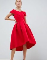 True Violet cross front bardot skater prom dress in red | vintage style party dresses | 50s inspired