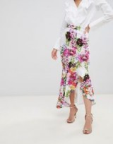 True Violet hi-low frill skirt in print | floral occasion fashion