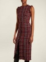 ALEXANDER MCQUEEN Tweed pencil dress / chic checked fashion