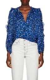 ULLA JOHNSON Lilian Floral Striped Blue Silk Blouse ~ beautiful ruffle trim shirt