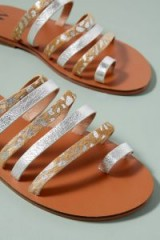 Vanessa Wu Printed-Metallic Sandals | strappy summer flats