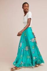 Anupamaa Vani Printed Maxi Silk Skirt Blue Fish Motif